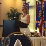 Mindy Conklin speaks at a rotary club event