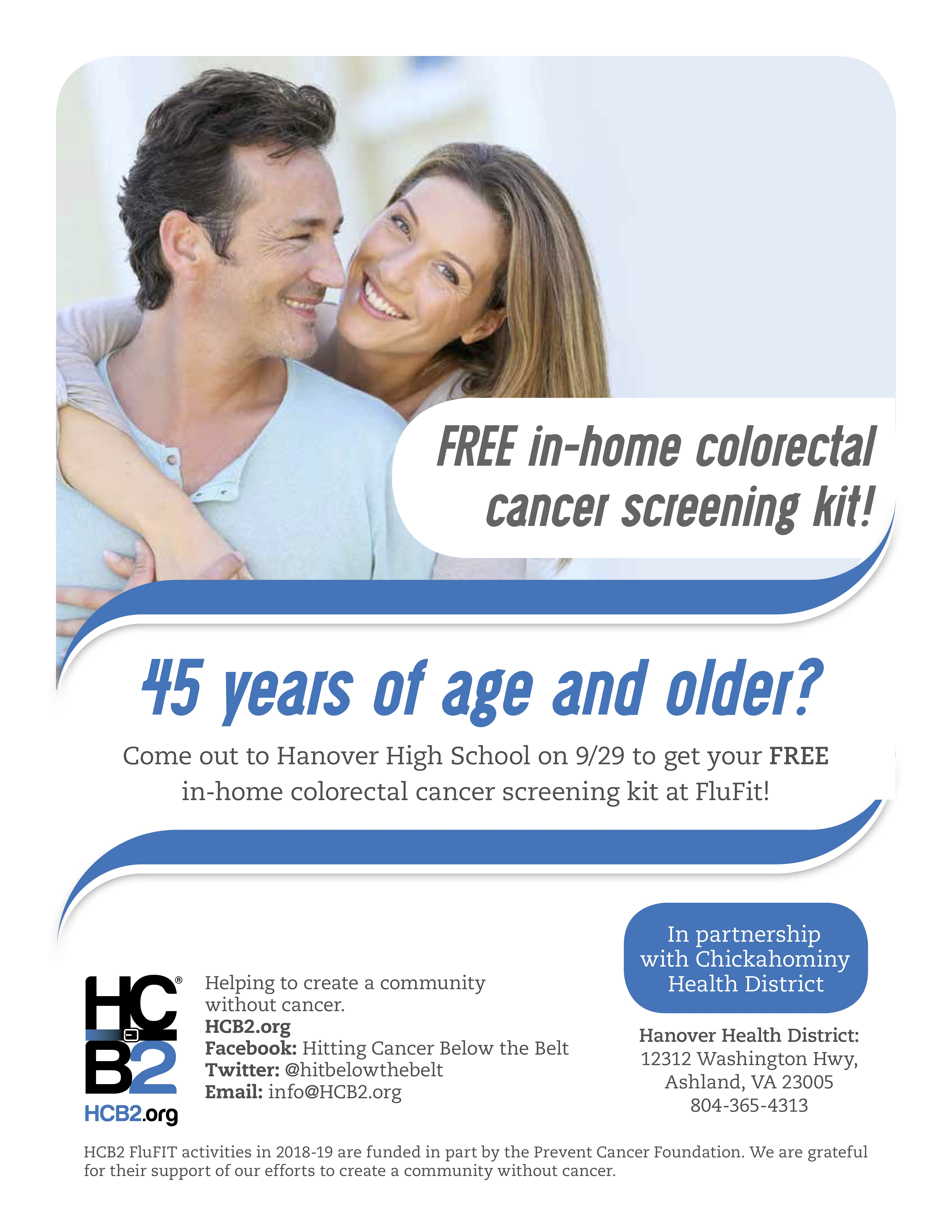 FluFIT free colonial rectal cancer screening from 7am to 12pm 9-29-18 at Hanover High School